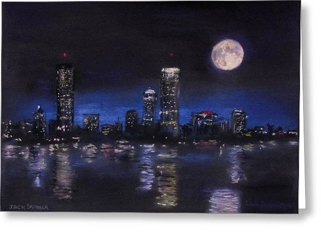 Charles River Pastels Greeting Cards - Across The Charles at Night Greeting Card by Jack Skinner