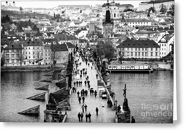 Across the Charles Bridge Greeting Card by John Rizzuto