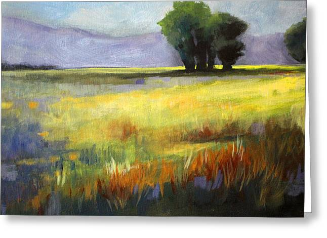 Mountain Valley Greeting Cards - Across the Field Greeting Card by Nancy Merkle