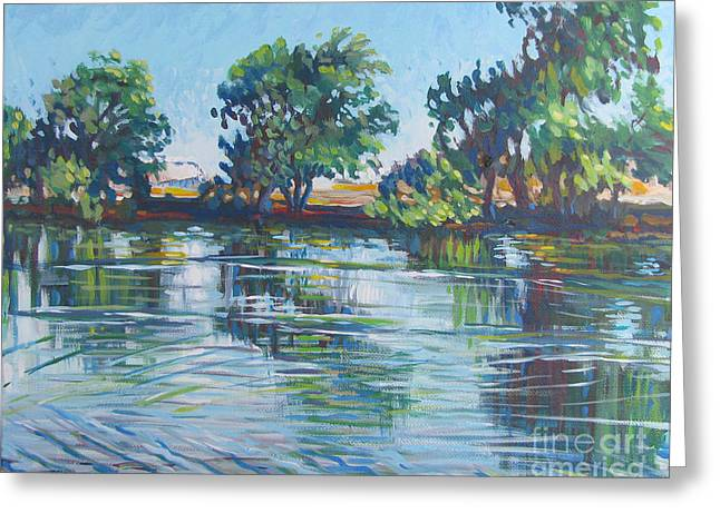 Recently Sold -  - Fishing Creek Greeting Cards - across the Joan Darrah Promenade Greeting Card by Vanessa Hadady BFA MA
