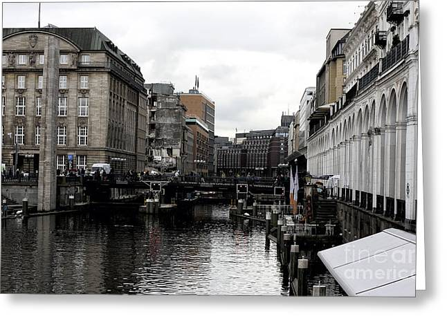 Across The Kleine Alster Greeting Card by John Rizzuto