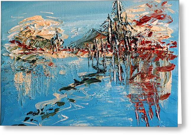 Abstract Expressionist Greeting Cards - Across The Lake Greeting Card by Donna Blackhall