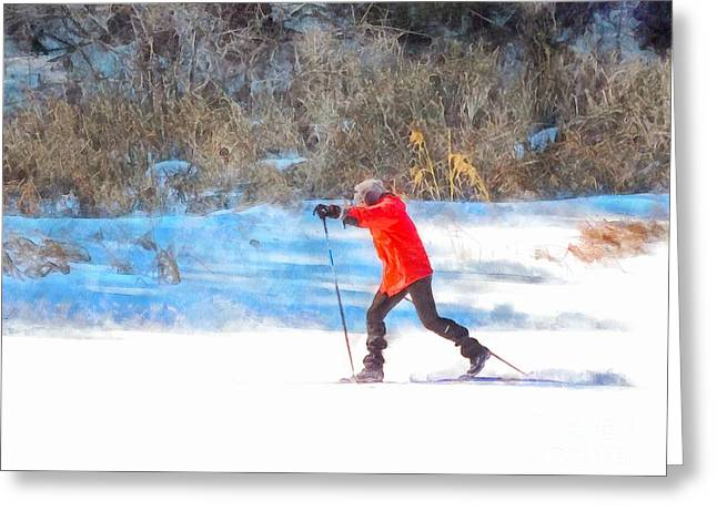 Action Ski Art Greeting Cards - Across the Lake Greeting Card by Helene Guertin