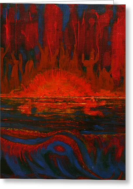 Peltomaa Greeting Cards - Across The Lake-The Worshipers Greeting Card by Kathy Peltomaa Lewis