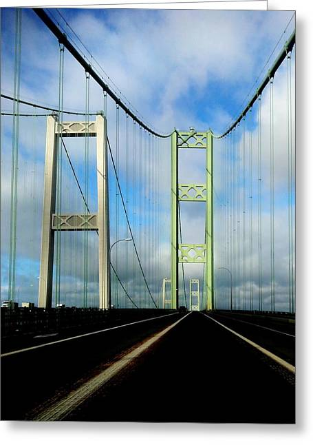 Tacoma Greeting Cards - Across The Narrows Greeting Card by Benjamin Yeager