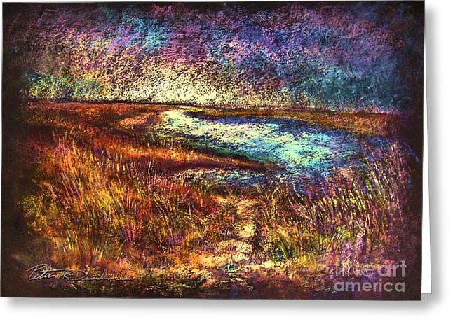 Wetlands Pastels Greeting Cards - Across The Point SH Greeting Card by Peter R Davidson