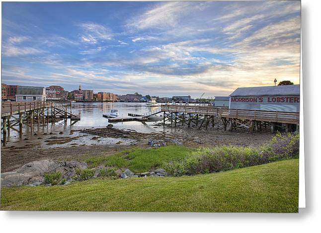 Lobster Shack Greeting Cards - Across the River Greeting Card by Eric Gendron