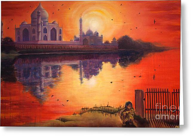 Recently Sold -  - Sunset Abstract Greeting Cards - Across the river Greeting Card by Georges Loewenguth