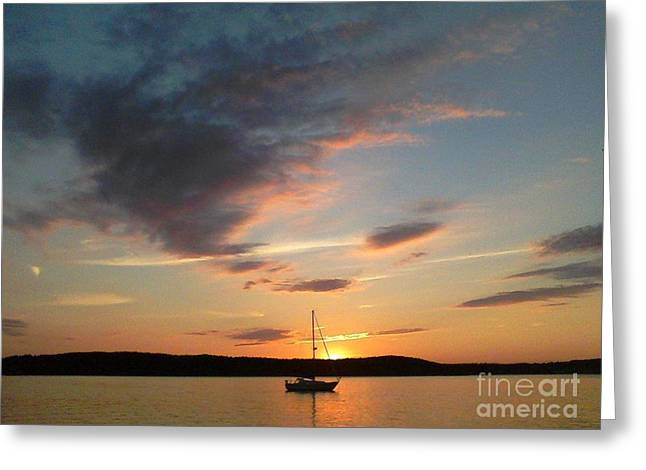 Sailboats In Water Greeting Cards - Across the Sky Greeting Card by Allyson Andrewz