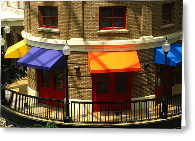 Purple Awnings Greeting Cards - Across the Street Greeting Card by Elizabeth Stein