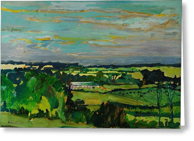 Rural Greeting Cards - Across The Valley, Bedfordshire, 1973 Oil On Canvas Greeting Card by Brenda Brin Booker
