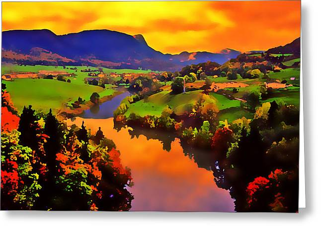 Cloud Reflections In Water Greeting Cards - Across the Valley Greeting Card by Stephen Anderson