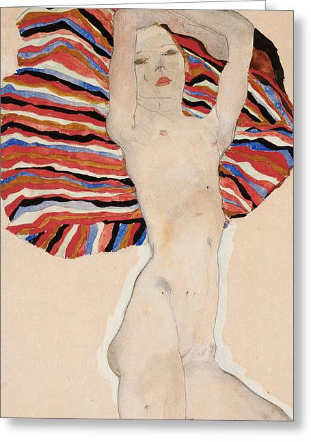 Odalisque Greeting Cards - Act Against Colored Material Greeting Card by Egon Schiele