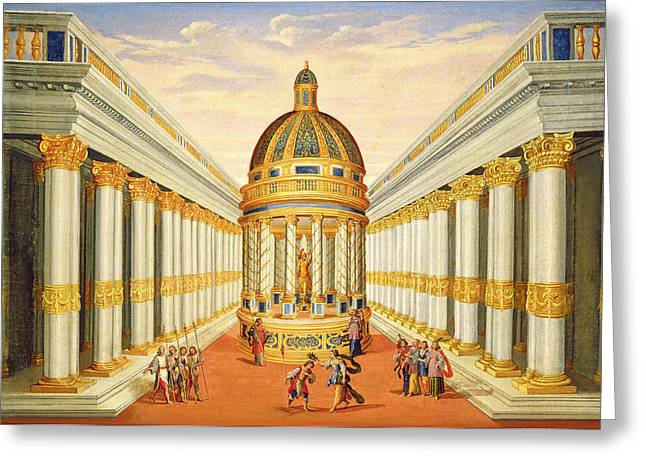 Bacchus Greeting Cards - Act I, Scenes Vii And Viii Baccus Temple Oil On Canvas Greeting Card by Giacomo Torelli