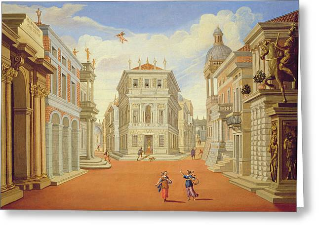 Mythical Greeting Cards - Act Ii, Scenes I And Viii Oil On Canvas Greeting Card by Giacomo Torelli