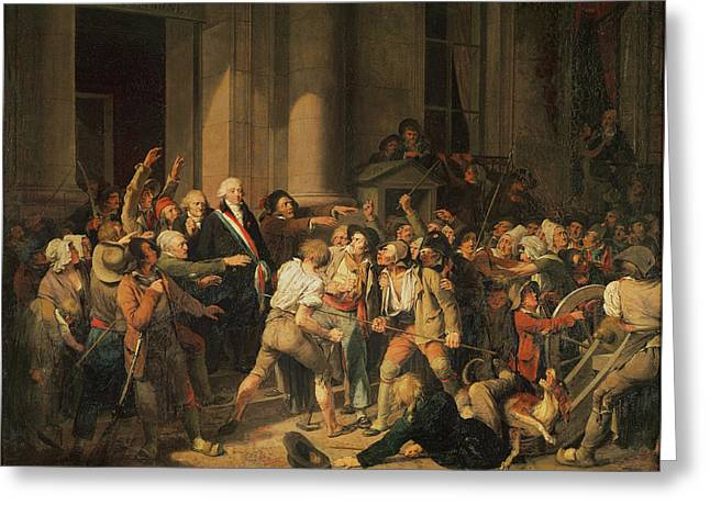 Courage Greeting Cards - Act Of Courage Of Monsieur Defontenay, Mayor Of Rouen, 29th August 1792 Oil On Canvas Greeting Card by Louis Leopold Boilly