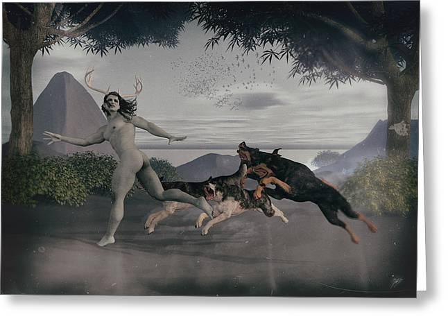 Transformations Mixed Media Greeting Cards - Actaeon chased by their dogs. Greeting Card by Joaquin Abella