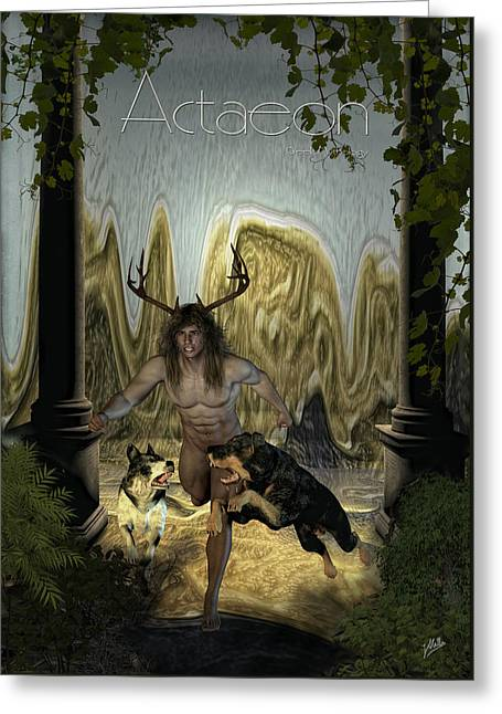 Transformations Mixed Media Greeting Cards - Actaeon By Quim Abella Greeting Card by Joaquin Abella