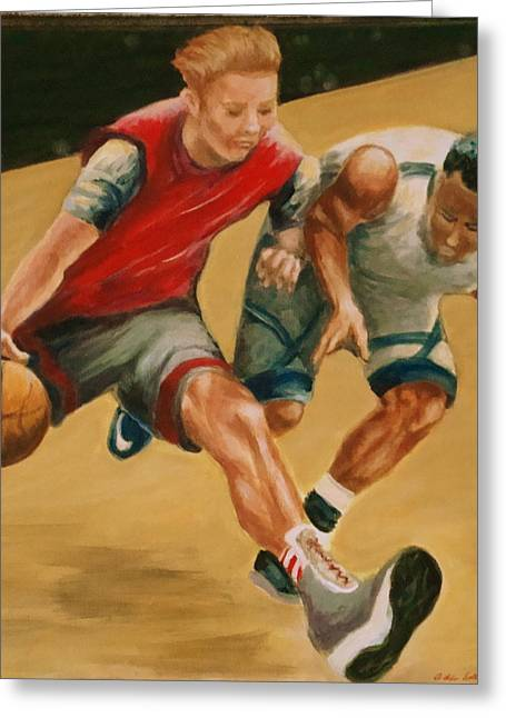 Basketballs Greeting Cards - Action #1 Greeting Card by Adele Soll Aronson