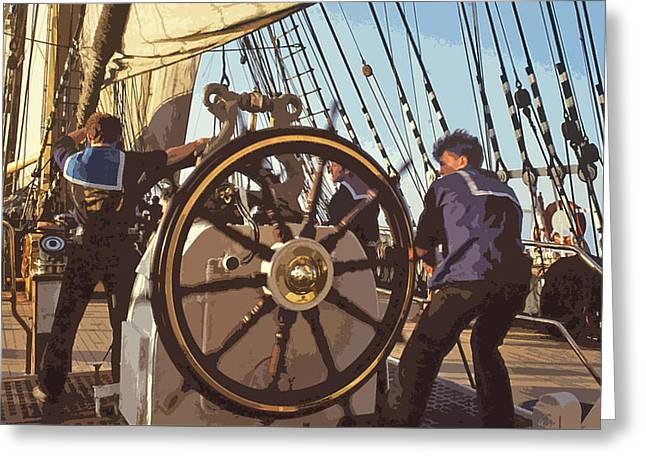 Steering Mixed Media Greeting Cards - Action at the helm Greeting Card by Anthony Dalton