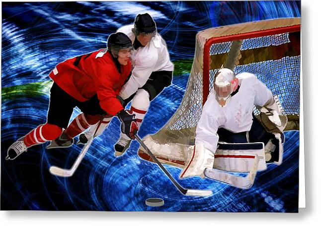 Hockey Paintings Greeting Cards - Action at the Hockey Net Greeting Card by Elaine Plesser