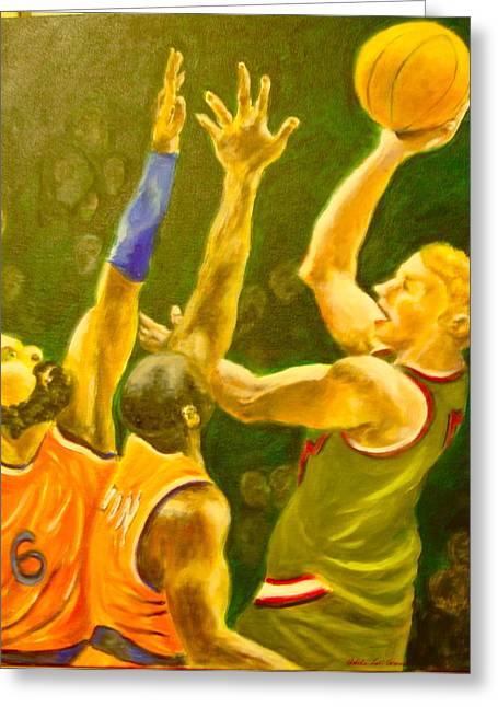 Basketball Team Paintings Greeting Cards - Action No.2 Greeting Card by Adele Soll Aronson