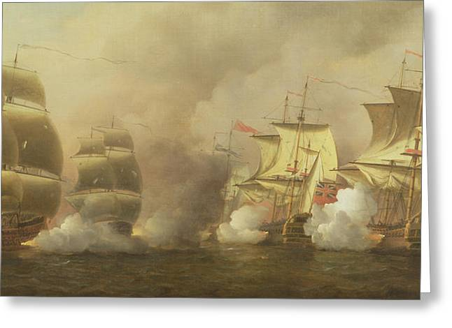 Seven Years War Greeting Cards - Action Off the Cape of Good Hope Greeting Card by Samuel Scott