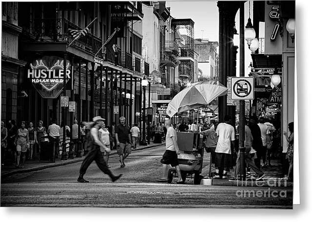 Lucky Dogs Greeting Cards - Action On Bourbon Street  Greeting Card by Mary  Smyth