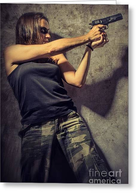 Aiming Greeting Cards - Action Woman I Greeting Card by Carlos Caetano
