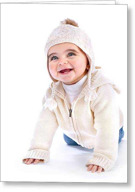 Knitted Dress Greeting Cards - Active baby Greeting Card by Anna Omelchenko