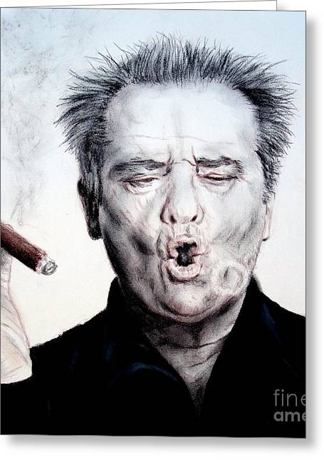 Sf Bay Bombers Mixed Media Greeting Cards - Actor Jack Nicholson Smoking Greeting Card by Jim Fitzpatrick
