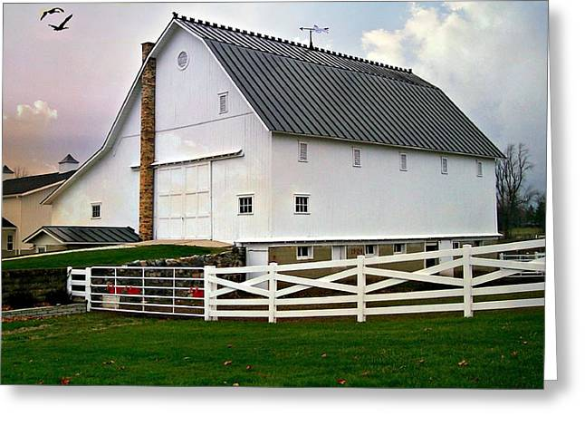 Outbuildings Greeting Cards - Actor James Dean Family Barn 1904 Greeting Card by Kathy Barney
