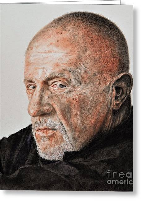 Bad Drawing Greeting Cards - Actor Jonathan Banks as Mike Ehrmantraut in Breaking Bad Greeting Card by Jim Fitzpatrick