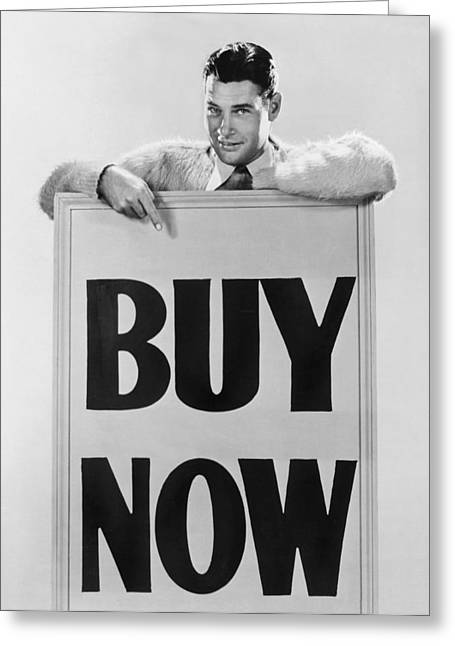"Enterprise Greeting Cards - Actor Says ""Buy Now"" Greeting Card by Underwood Archives"