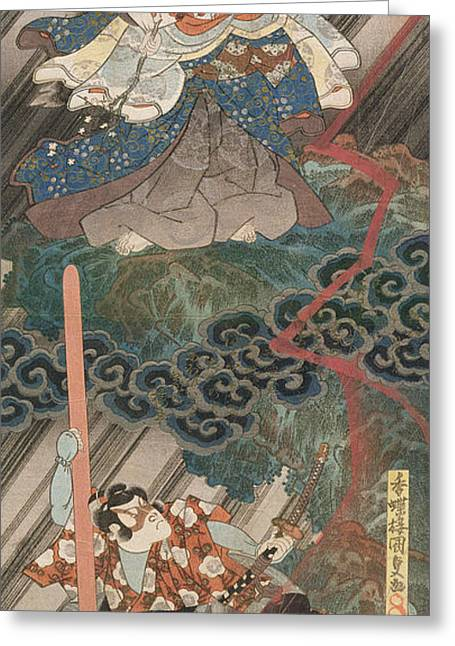 Block Print Paintings Greeting Cards - Actors Ichikawa Danjuro VII as Kan Shojo Greeting Card by Utagawa Kunisada
