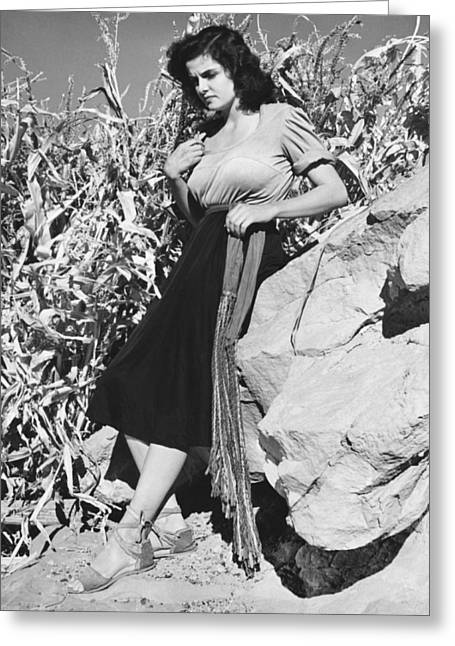 Actress Jane Russell Greeting Card by Bruce Bailey