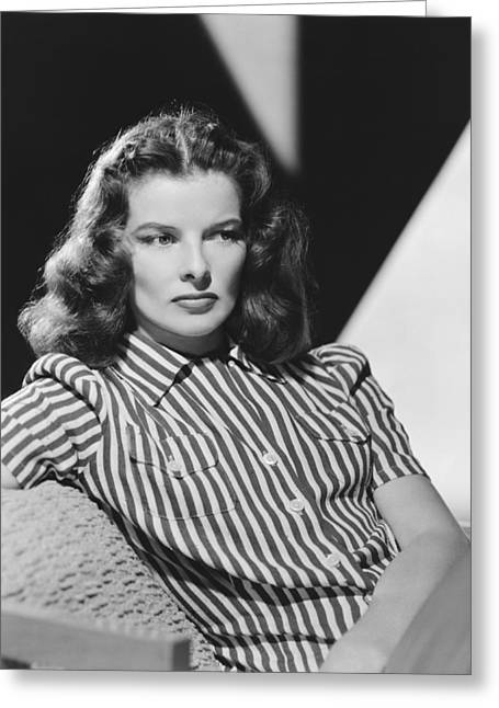 Actress Katharine Hepburn Greeting Card by Underwood Archives
