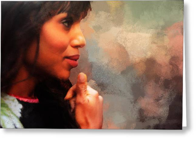 """red Carpet"" Greeting Cards - Actress Kerry Washington Greeting Card by Nishanth Gopinathan"