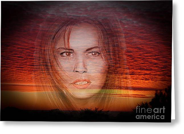 Colorful Photography Drawings Greeting Cards - Actress Raquel Welch in Hannie Caulder Sunset Version Greeting Card by Jim Fitzpatrick