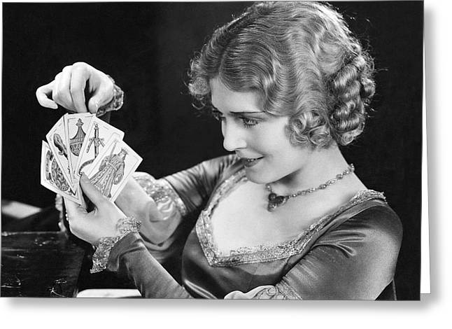 Playing Cards Greeting Cards - Actress Vilma Banky Greeting Card by Underwood Archives