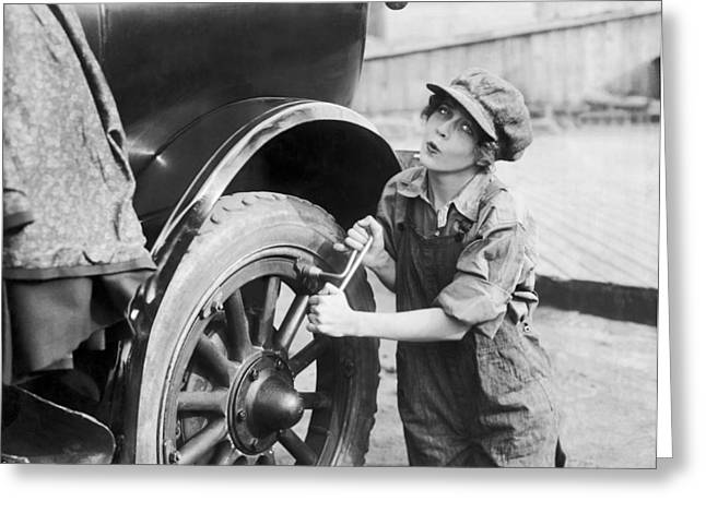 Actress Working On Her Car Greeting Card by Underwood Archives