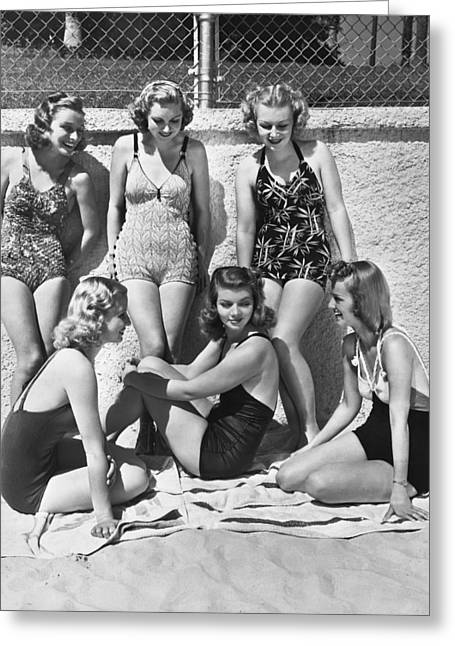 Actresses At Malibu Beach Greeting Card by Underwood Archives