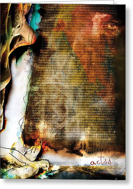 Pentecost Greeting Cards - Acts 4 Greeting Card by Switchvues Design