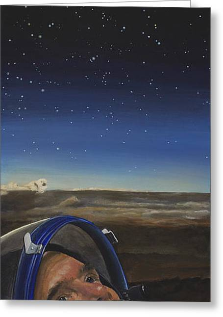 Nasa Greeting Cards - Ad Astra - Col. Chris Hadfield Greeting Card by Simon Kregar
