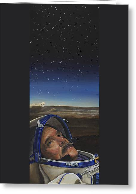 Printed Greeting Cards - Ad Astra - Col. Chris Hadfield Greeting Card by Simon Kregar
