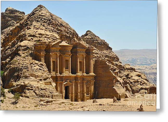 Historic Site Pyrography Greeting Cards - Ad Deir in Petra Greeting Card by Jelena Jovanovic