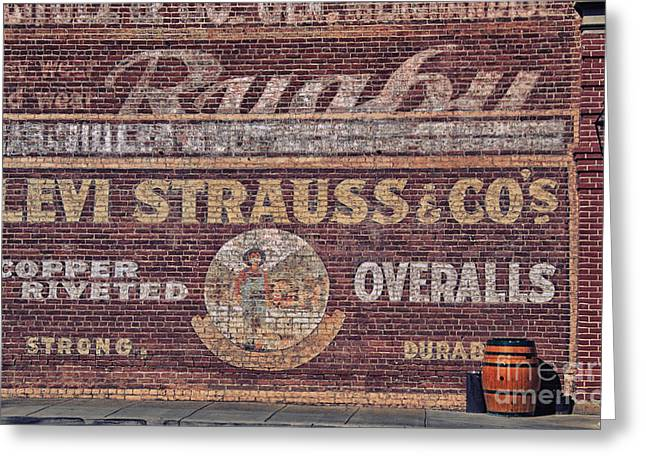Levi Greeting Cards - Ad on Brick Greeting Card by Kati Tomlinson