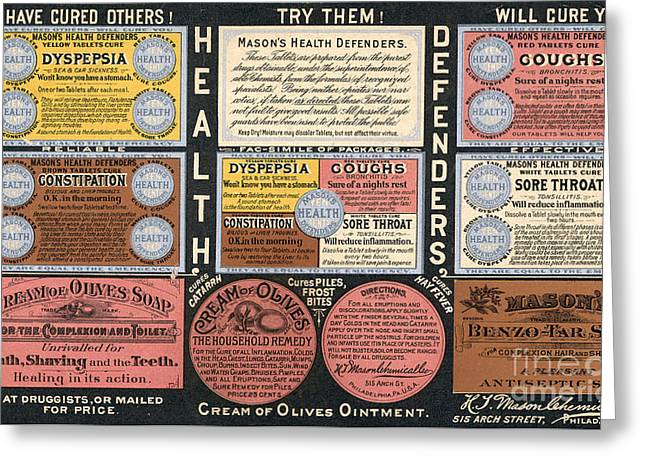 Ointment Greeting Cards - AD: PATENT MEDICINE, c1900 Greeting Card by Granger