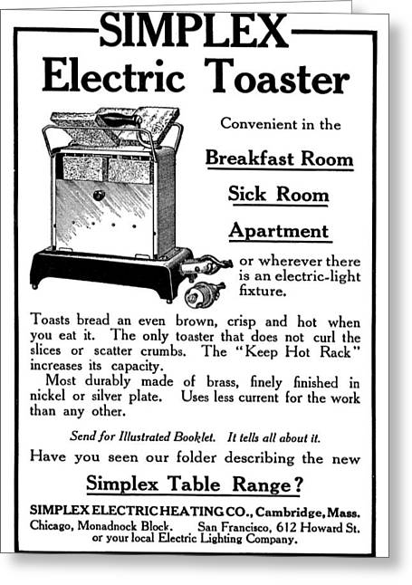 Ad Toaster, 1911 Greeting Card by Granger
