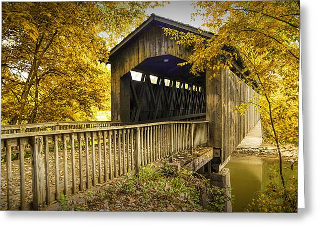 Old Roadway Greeting Cards - Ada Covered Bridge in Autumn Greeting Card by Randall Nyhof